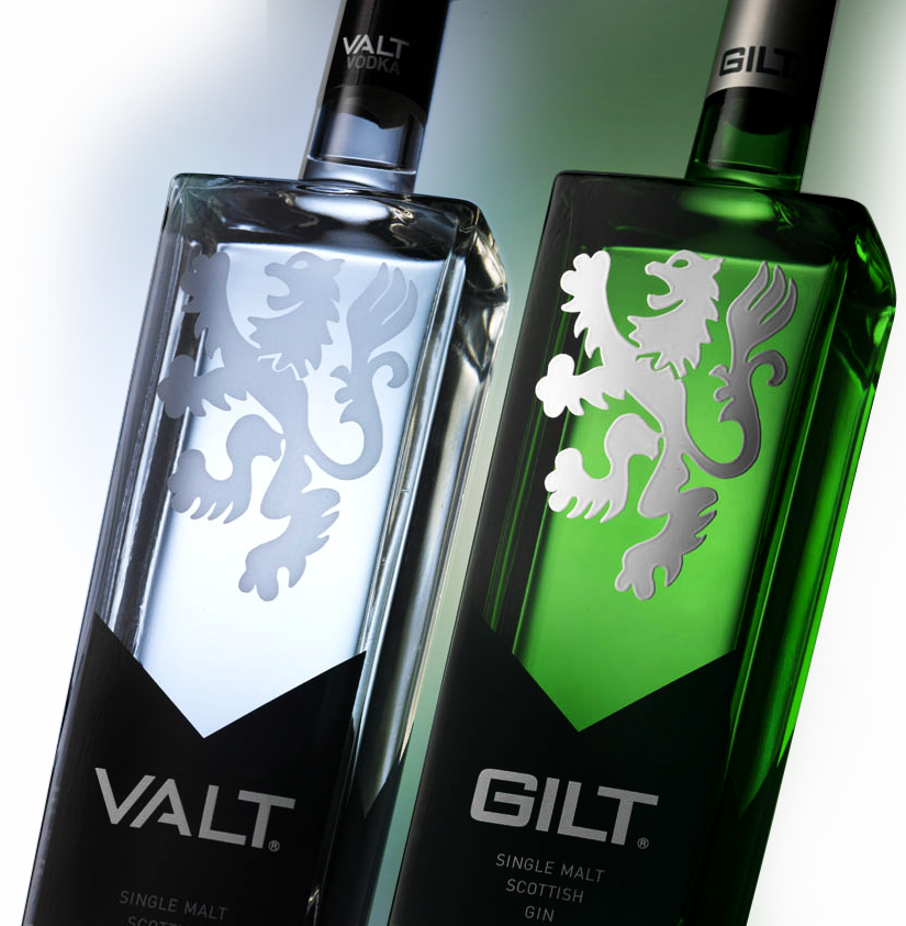 Valt Vodka and Gilt Gin bottles